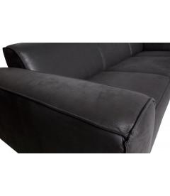 Canapé d'Angle Gauche Statement Tissu Suèdine Noire