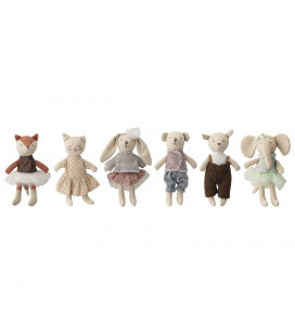 Ensemble de 6 Mini-jouets Peluche Jeffrey Bloomingville