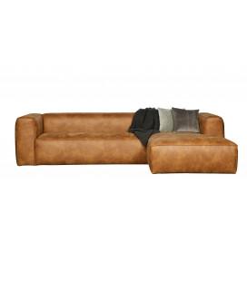 Canapé d'Angle Droit Bean en Cuir Recyclé Cognac