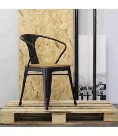 Chaise Split Acier Noir Mat & Bois D'orme