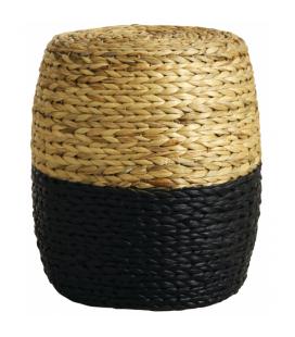 Pouf rond en Jacinthe naturelle et noire, structure bois