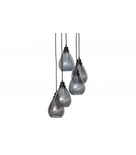 Suspension Waterfall 5 Lampes 147cm Noir Verre Fumé Gris