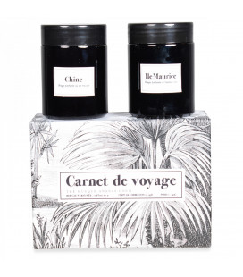 Coffret de 2 Bougies Carnet de Voyage Thé Musqué, Ananas/Noix de Coco