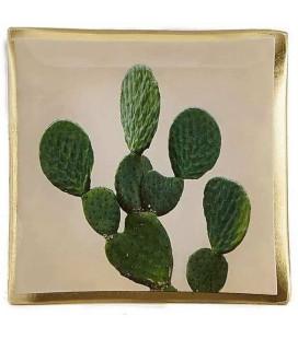 Plat Verre Pour Bougie - Cactus - H 0,8cm - L 10,2cm - W 10,2cm