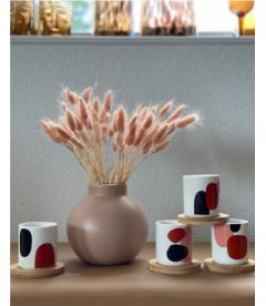 Coffret de 4 gobelets Découpage avec sous tasses