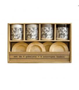 Coffret de 4 gobelets Palmeraie avec sous tasses