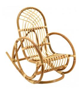 Rocking Chair Enfant en Rotin Naturel Ajouré