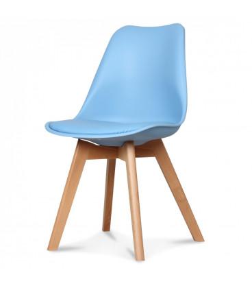 Chaise Copenhague Bleu Adriatic Pp + Coussin Pu + Pietement Bois (Hetre) Assise