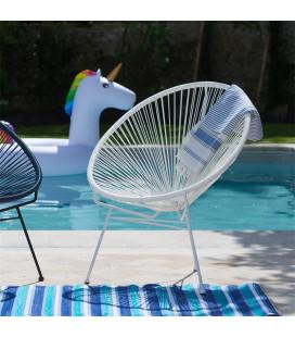 Fauteuil Acapulco Blanc - Structure Acier Blanc