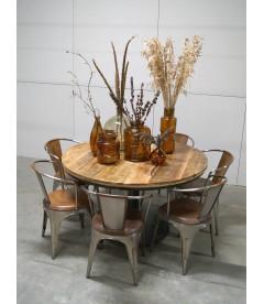 Table A Manger Vieux Bois Ronde ø 140cm - 8 Personnes