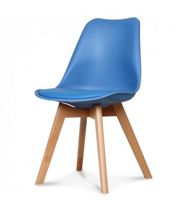 Chaise Copenhague Bleu Midnight Pp + Coussin Pu + Pietement Bois (Hetre) Assise