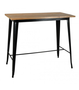 Table Bar Tucker Carrée Acier Noir Mat & Bois