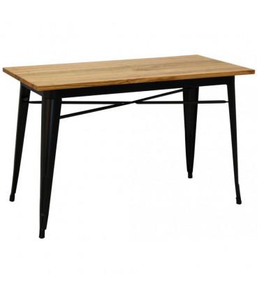 Table Rectangulaire Tuck 1 Acier Noir Mat & Bois