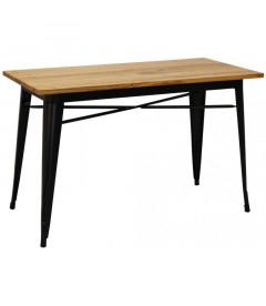 Table Rectangulaire Tuck 120cm Acier Noir Mat & Bois