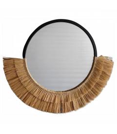 Miroir Oeil 61cm En Rotin