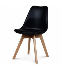 Chaise Copenhague Noir Pp + Coussin Pu + Pietement Bois (Hetre) Assise 46cm