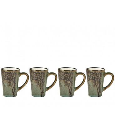 Set de 4 Tasses Expresso Vert Motif Arbre