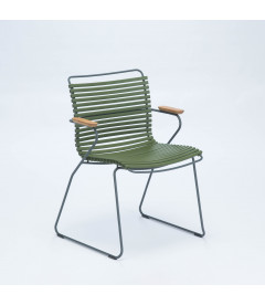 Chaise Accoudoirs Bambou Vert Olive