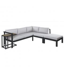 Salon d'Angle + Table d'Appoint Aluminium Graphite Agnes