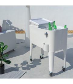 Glacière de Jardin à roulettes Vintage Métal Blanc