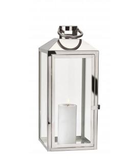 Lanterne - Acier Inoxydable - Verre- Argent - Clair - Brillant - H 52,5cm - L 18