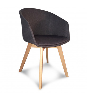 Fauteuil Scandinave Tissu Anthracite Coussin