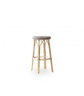 Tabouret de Bar Simone Rotin Tressage Cappuccino Points Blanc Sika-Design
