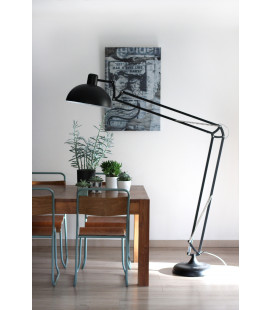 Lampadaire Koloss Noir Mat Metal, Cable Tex Carreau Gaine Noir & Blanc