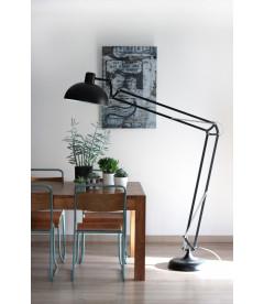 Lampadaire Koloss Noir Mat Metal, Cable Tex Carreau Gaine Noir & Blanc