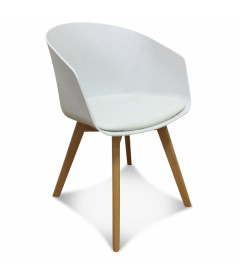 Fauteuil Scandinave White + Coussin