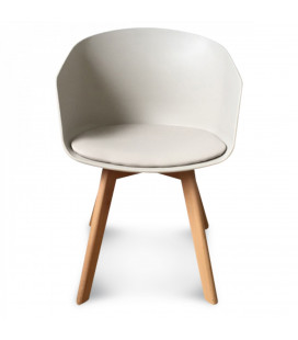 Fauteuil Scandinave Taupe + Coussin