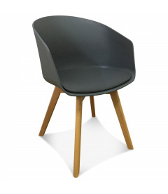 Fauteuil Scandinave Anthracite + Coussin
