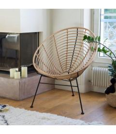 Fauteuil Panama Rotin - Structure Acier Noir
