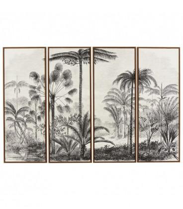 Toile Palmiers Set 4 Pièces