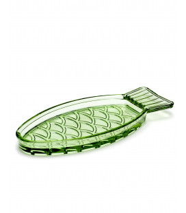 "Serax Ravier ""Fish"" Oval Vert Transparent"