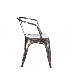 Chaise Dallas Accoudoirs Patine Argent