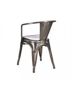 Lot de 4 Chaises Accoudoirs Dallas Patine Argent