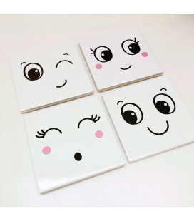 "Set de 4 sous-verres ""Fun Faces"""