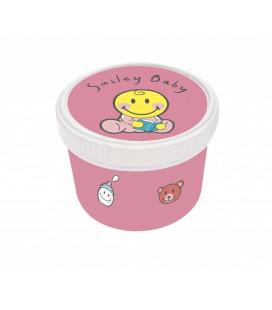 Smiley Baby - Boite Ronde 8-5cm - Baby Rose