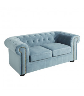 Canapé Chesterfield 2 Places Velours Bleu Clair
