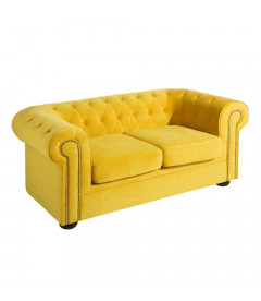 Canapé Chesterfield 2 Places Velours Jaune