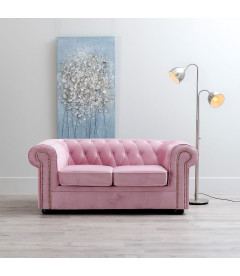 Canapé Chesterfield 2 Places Velours Rose