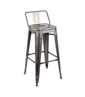 Tabouret Bar + Dossier Patine Argent Dallas