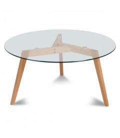 Table Repas Ronde Verre & Bois Fiord D110cm