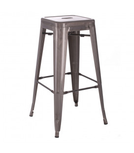 Lot de 2 Tabourets Bar Patine Argent Dallas