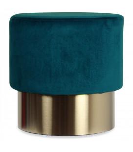Pouf en Velours D.35cm Bleu Canard Serge