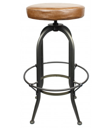 Tabouret Cassidy Lounge Noir Metal Naturel & Assise En PU