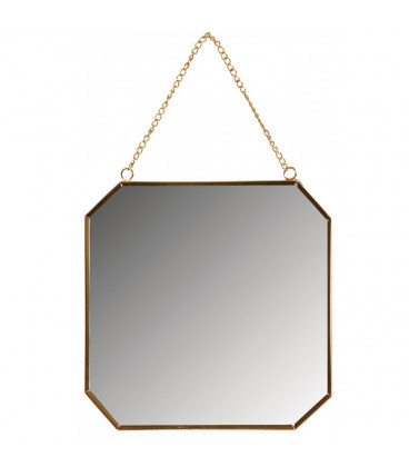 Miroir Octogonal Metal Laque Dore D 19,5 cm