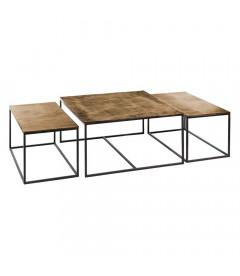 Set de 3 Tables Basses Or Vieux et Noir