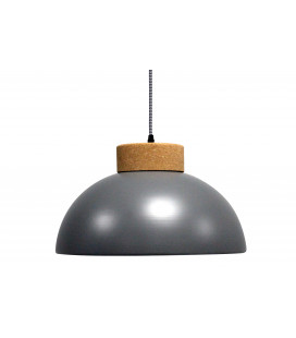 Lampe Suspendue Vermont Gris Mat Liege & Metal, Cable Tex Carreau Gaine Noir Et